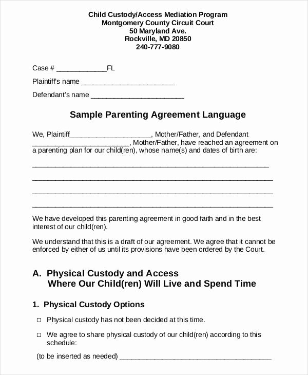 Parenting Plan Template Free Lovely Parenting Agreement Templates 8 Free Pdf Documents