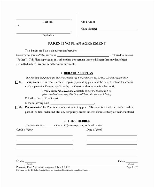 Parenting Plan Template Free Unique Parenting Agreement Templates 8 Free Pdf Documents