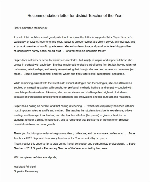 Parents Letter Of Recommendation Best Of 8 Sample Letters Of Re Mendation for Teacher