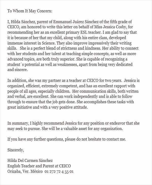 Parents Letter Of Recommendation Lovely 6 Reference Letter for Teachers Free Sample Example