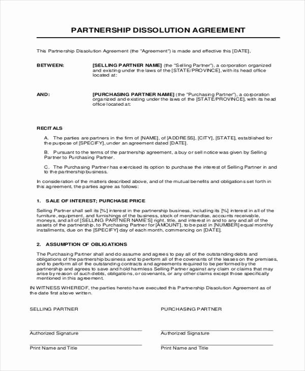 Partner Buyout Agreement Template Best Of 11 Partnership Agreement form Samples Free Sample