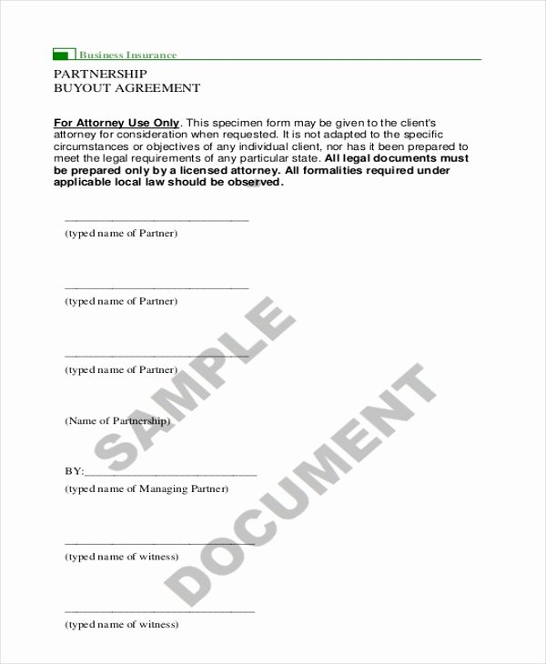 Partner Buyout Agreement Template New 9 Sample Partnership Agreement forms Free Sample