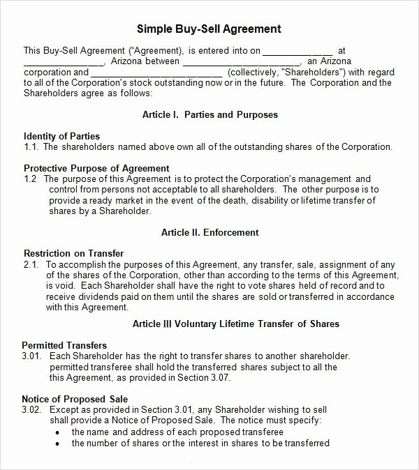 Partnership Buyout Agreement Inspirational 18 Sample Buy Sell Agreement Templates Word Pdf Pages