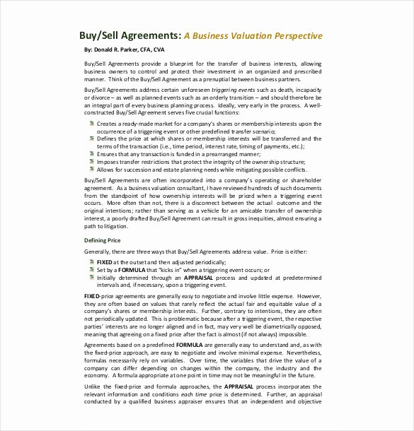 Partnership Buyout Agreement Luxury 24 Buy Sell Agreement Templates Word Pdf