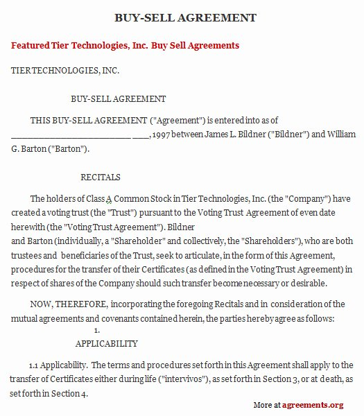 Partnership Buyout Agreement New Get Sample Buy Sell Agreements