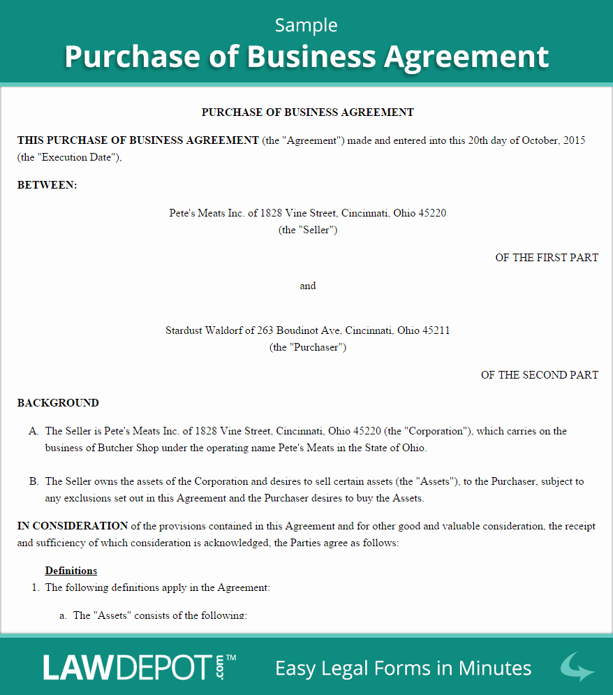 Partnership Buyout Agreement New Purchase Of Business Agreement Template Us