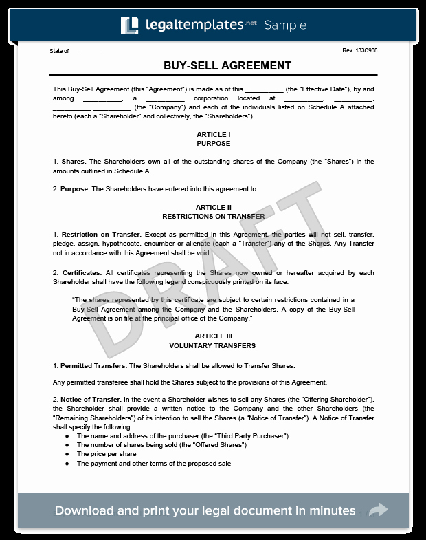 Partnership Buyout Agreement Template Elegant Buy Sell Agreement Template