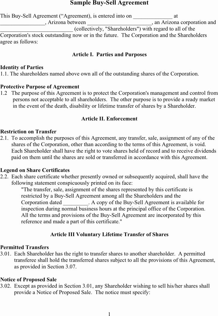 Partnership Buyout Agreement Template Luxury Free Sample Buy Sell Agreement Doc 57kb