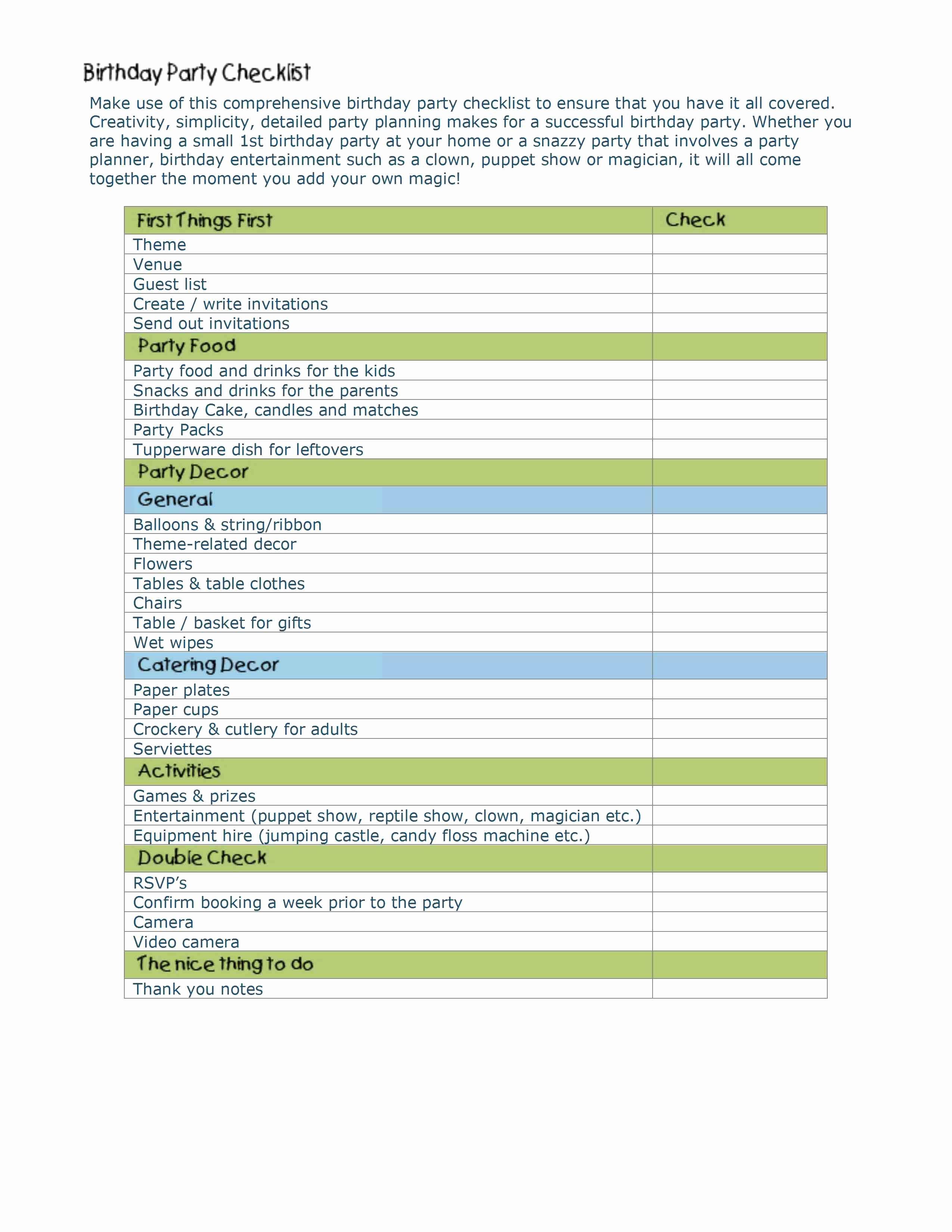 Party Plan Checklist Template Elegant event Planning Checklist Template