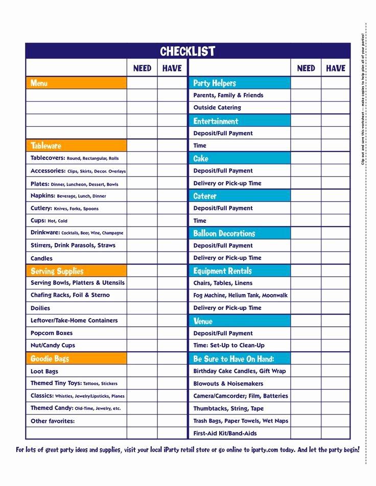 Party Plan Checklist Template Fresh Party Checklist Novel Ideas
