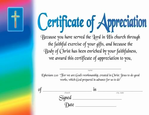 Pastor Appreciation Certificate Template Best Of Certificate Of Appreciation Religious