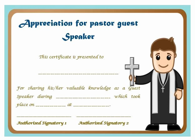 Pastor Appreciation Certificate Template Free Awesome Certificate Appreciation for Pastor Guest Speaker