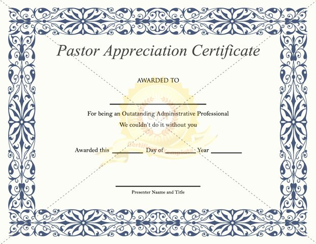 Pastor Appreciation Certificate Template Free Fresh Best S Of Copy Church Programs Sample Wedding