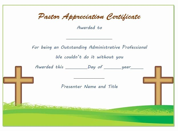 Pastor Appreciation Certificate Template Free Lovely Pastor Anniversary Appreciation Certificate