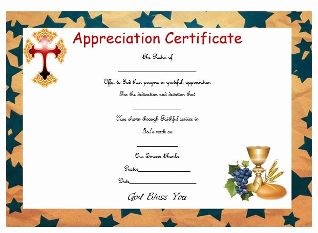 Pastor Appreciation Certificate Template Luxury thoughtful Pastor Appreciation Certificate Templates to