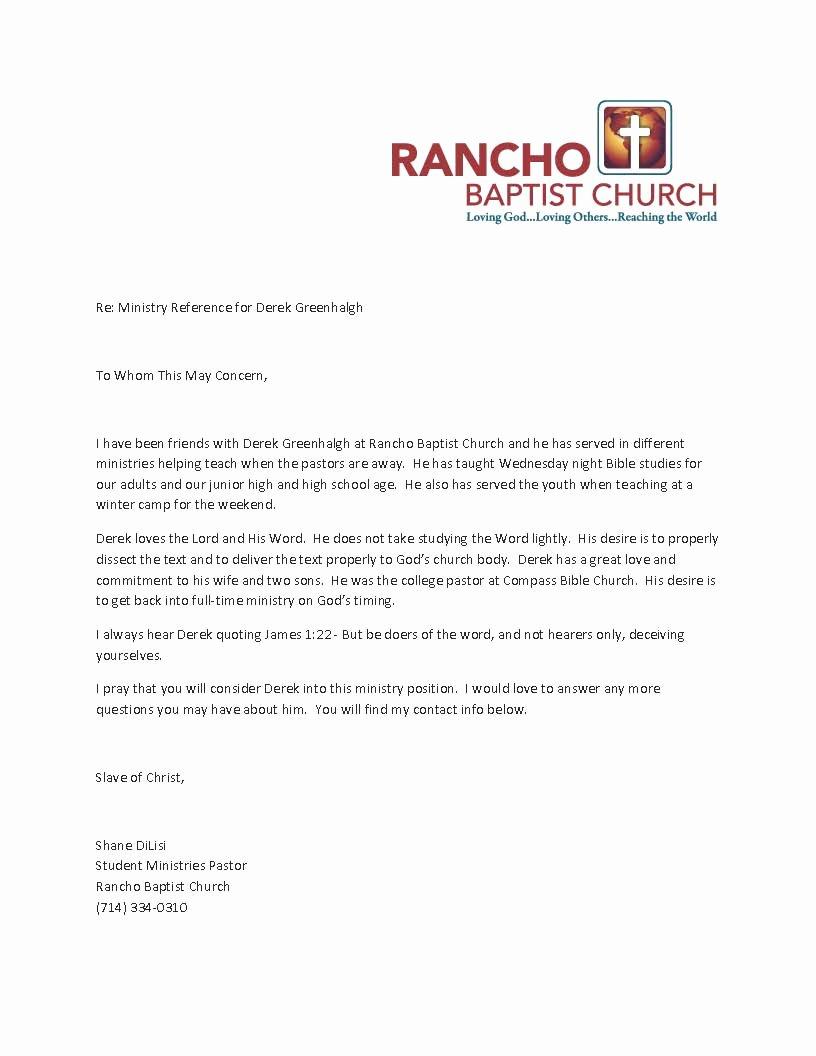Pastor Letter Of Recommendation Elegant Pastor Derek References