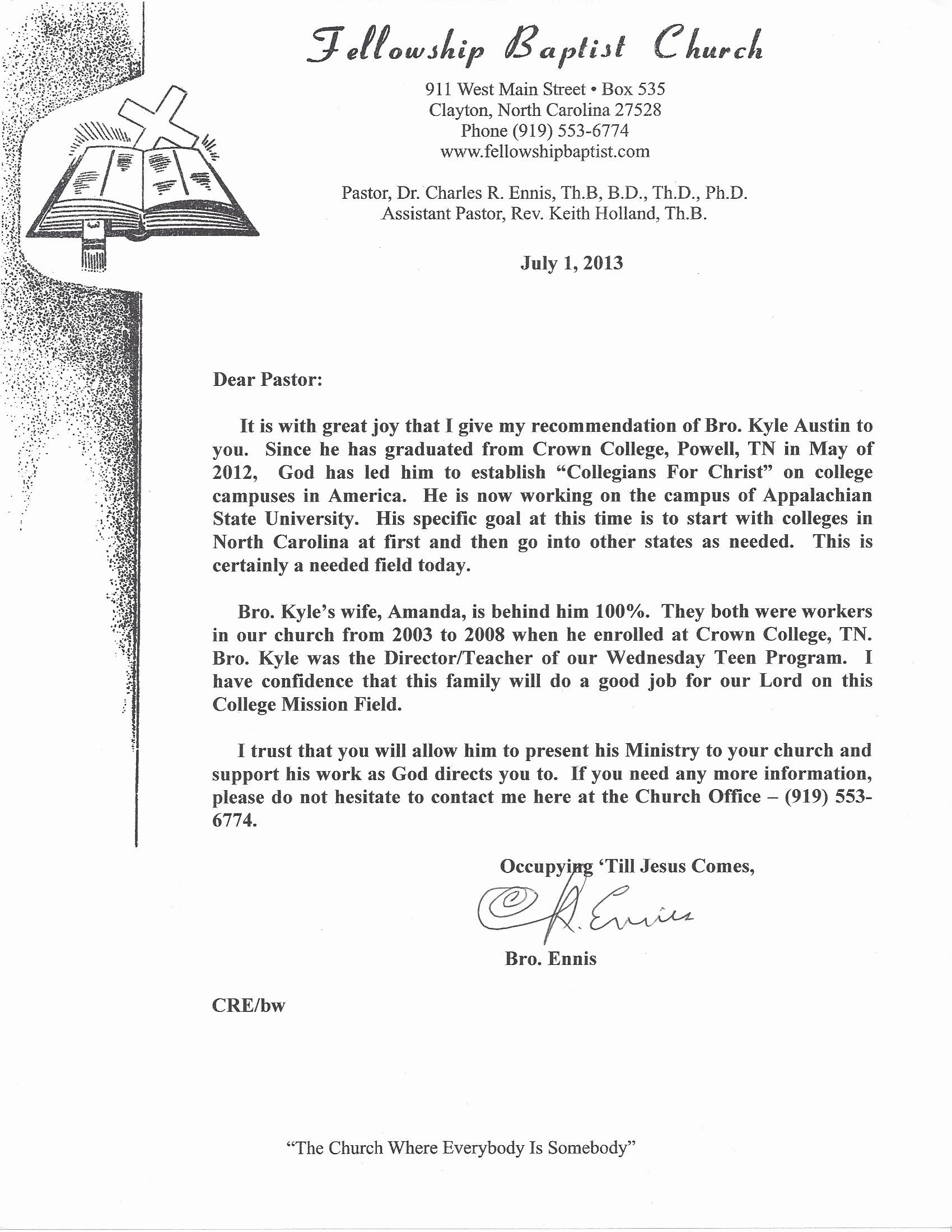 Pastor Letter Of Recommendation Elegant Pastoral Reference Letter Examples
