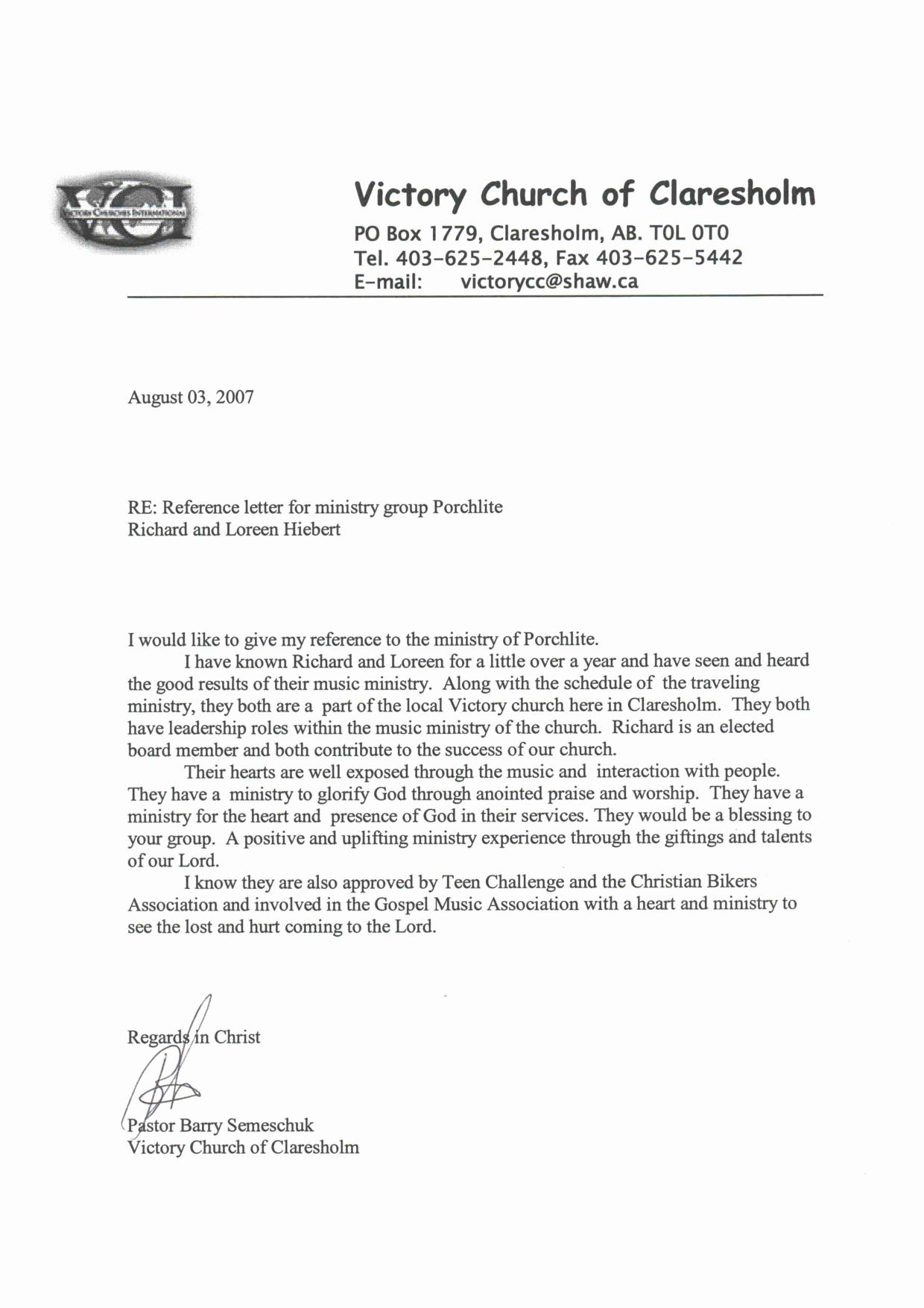 Pastor Letter Of Recommendation Elegant Reference Letter Pastor Church Member Oshiborifo