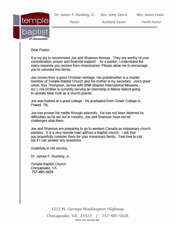 Pastor Letter Of Recommendation Elegant Youth Pastor Re Mendation Letter for Student