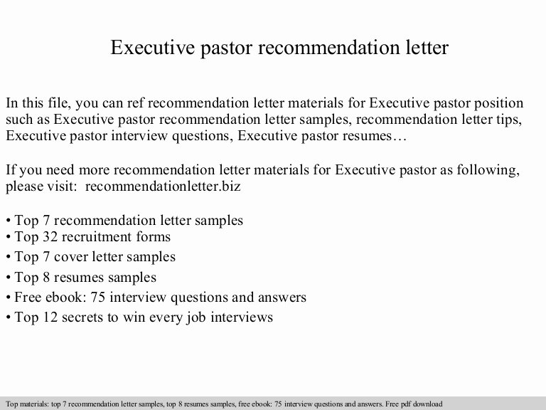 Pastor Letter Of Recommendation Fresh Executive Pastor Re Mendation Letter