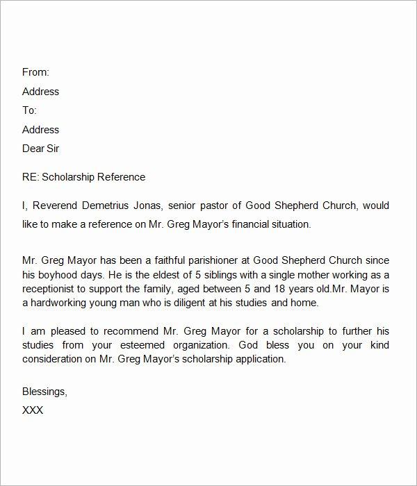 Pastor Letter Of Recommendation Inspirational Sample Letter Of Re Mendation for Scholarship 10 Free
