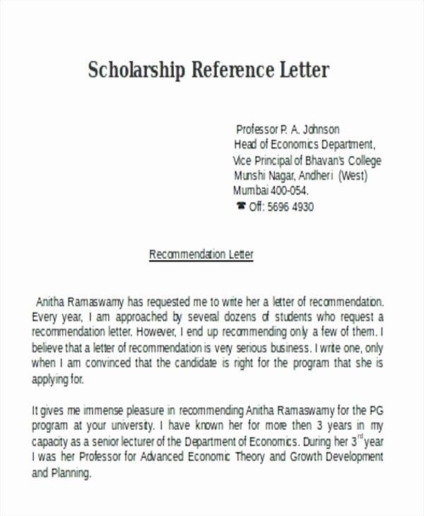 Pastor Letter Of Recommendation Lovely Re Mendation Letter for Student Scholarship Pastor Creero