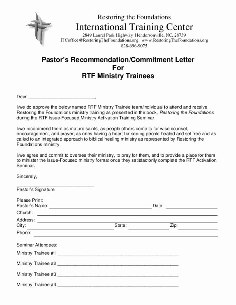 Pastor Letter Of Recommendation Luxury Downloads – Restoring the Foundations