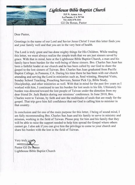 Pastor Letter Of Recommendation Luxury Pray for Taiwan Our Re Mendation