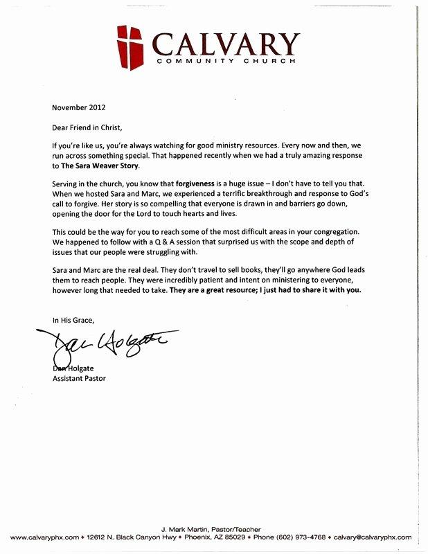 Pastor Letter Of Recommendation Luxury Re Mendation Letter From Pastor
