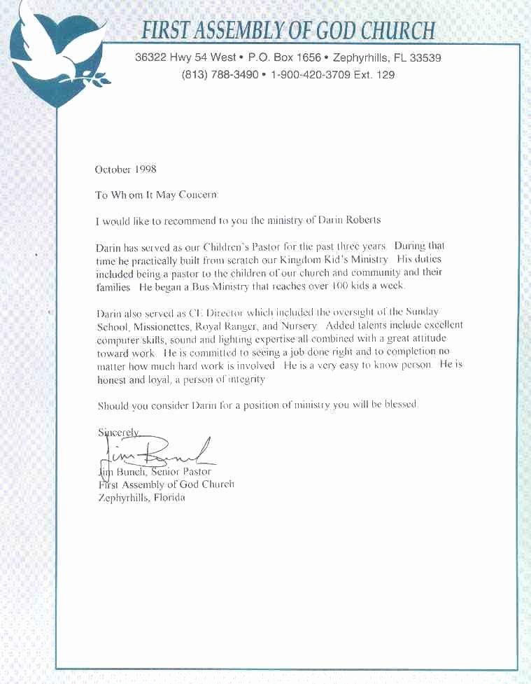 Pastor Letter Of Recommendation New Letter Re Mendation Pastor