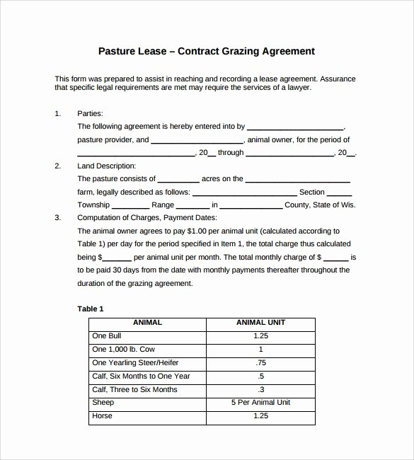 Pasture Lease Agreement Template Awesome 8 Pasture Lease Agreement Templates – Samples Examples