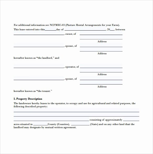 Pasture Lease Agreement Template Awesome Sample Pasture Lease Agreement Template