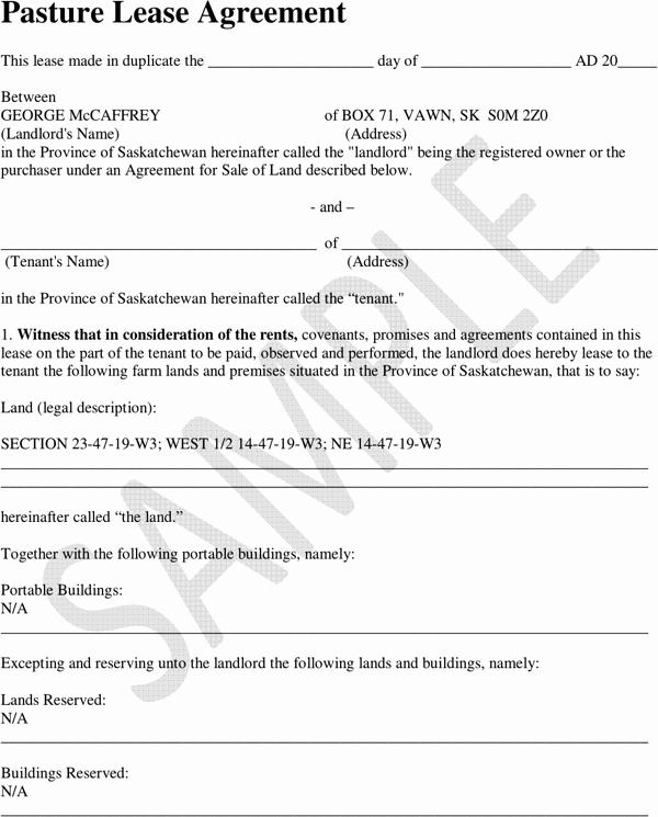 Pasture Lease Agreement Template Elegant Download Saskatchewan Pasture Lease Agreement Sample for