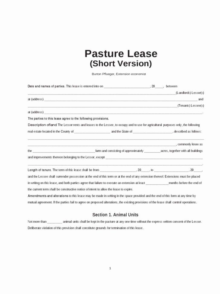 Pasture Lease Agreement Template Elegant Sample Pasture Lease Agreement