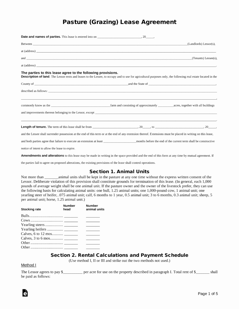Pasture Lease Agreement Template Lovely Free Pasture Grazing Rental Lease Agreement Template
