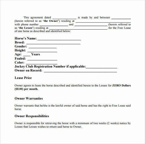 Pasture Lease Agreement Template New 8 Pasture Lease Agreement Templates – Samples Examples