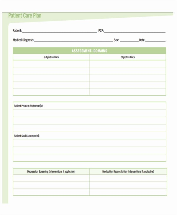 Patient Care Plan Template Unique 11 Basic Care Plan Template Word Pdf format Download