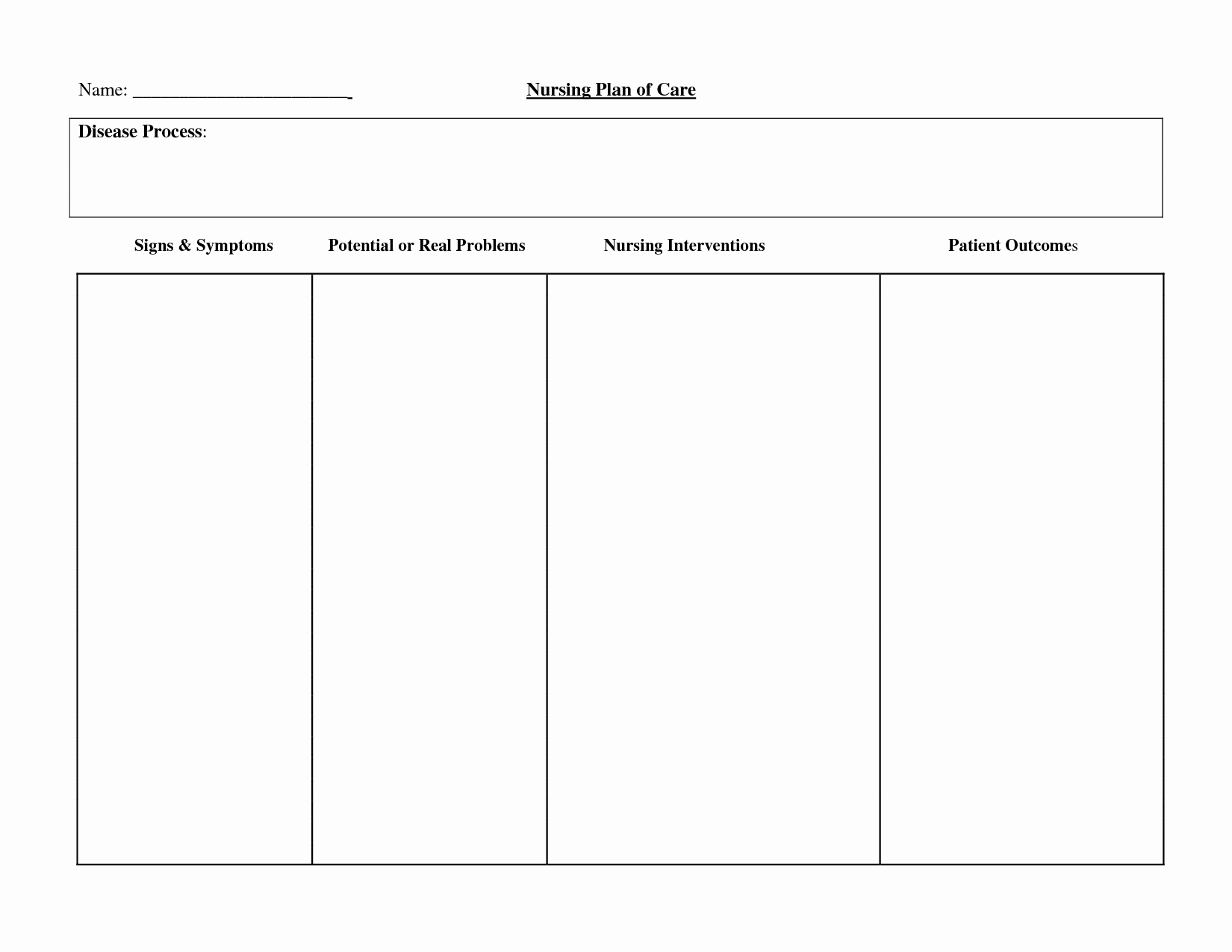 Patient Care Plan Template Unique 30 Of Blank Patient Care Plan Template