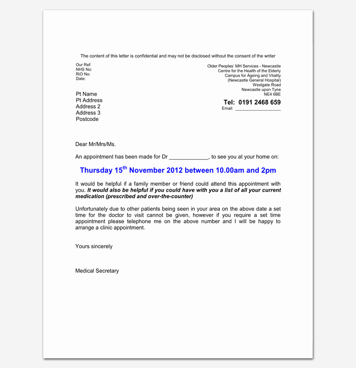 Patient Missed Appointment Letter Awesome Doctor Appointment Letter Template 14 Samples Examples