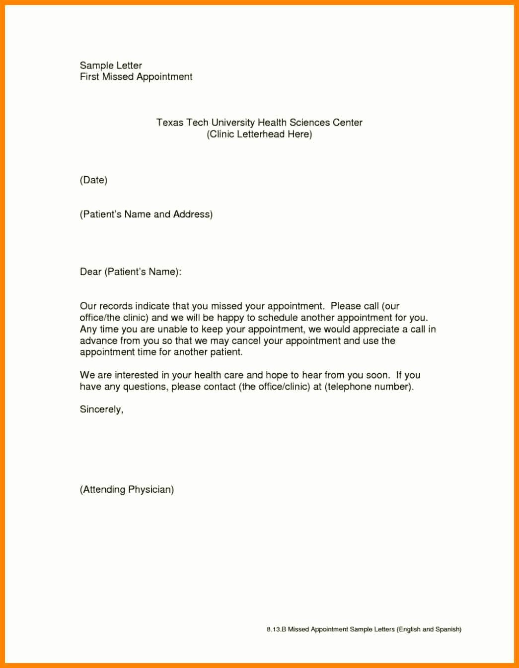 Patient Missed Appointment Letter Elegant Letter Appointment Letter Sample