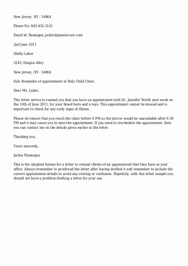 Patient Missed Appointment Letter Template Elegant Email Appointment Reminder Template Templates Resume