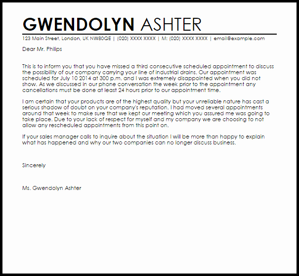 Patient Missed Appointment Letter Template Elegant Missed Appointment Letter Example