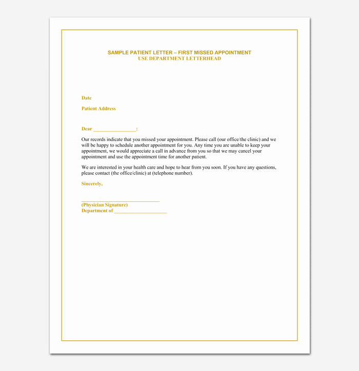 Patient Missed Appointment Letter Template Inspirational Missed Appointment Letter 10 Sample Letters