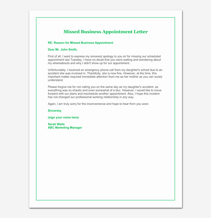 Patient Missed Appointment Letter Template Lovely Missed Appointment Email Template