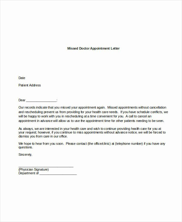 Patient Missed Appointment Letter Template Luxury 44 Appointment Letter Template Examples