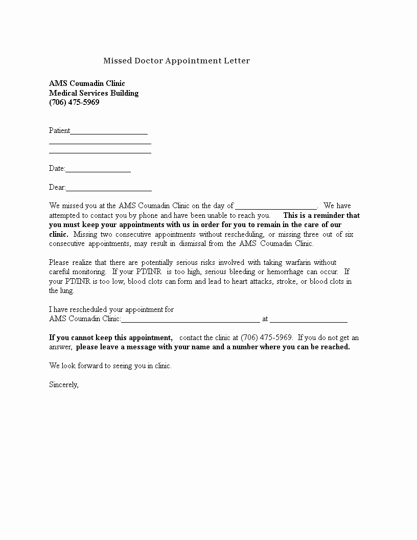 Patient Missed Appointment Letter Template Luxury Free Missed Doctor Appointment Letter to Patient