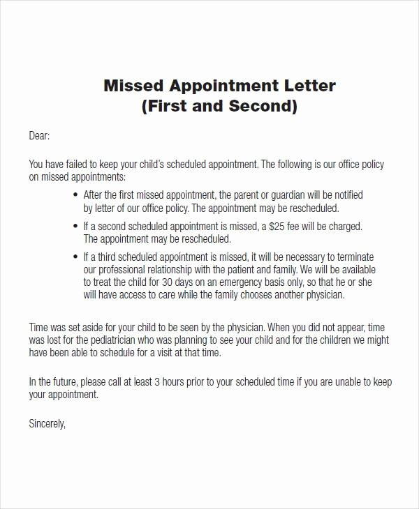 Patient Missed Appointment Letter Template New 51 Sample Appointment Letters