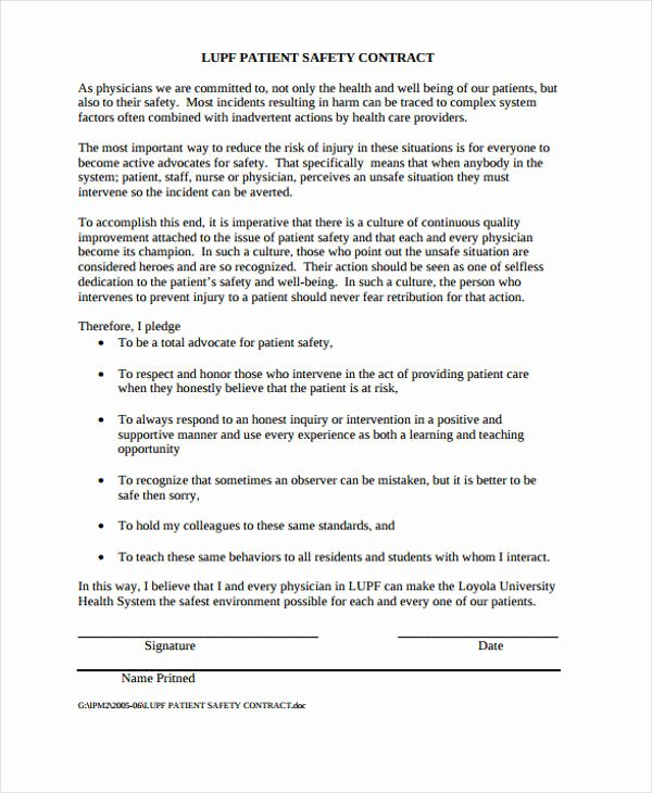 Patient Safety Plan Template Luxury Safety Contract Templates 9 Free Word Pdf format