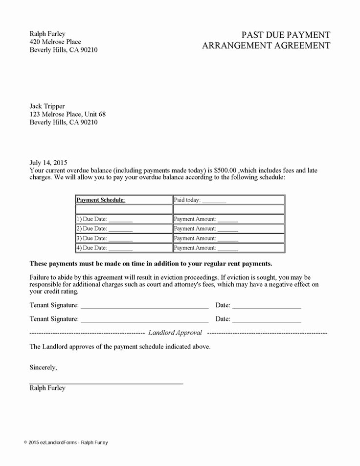 Payment Plan Letter Template Awesome Past Due Payment Arrangement Agreement
