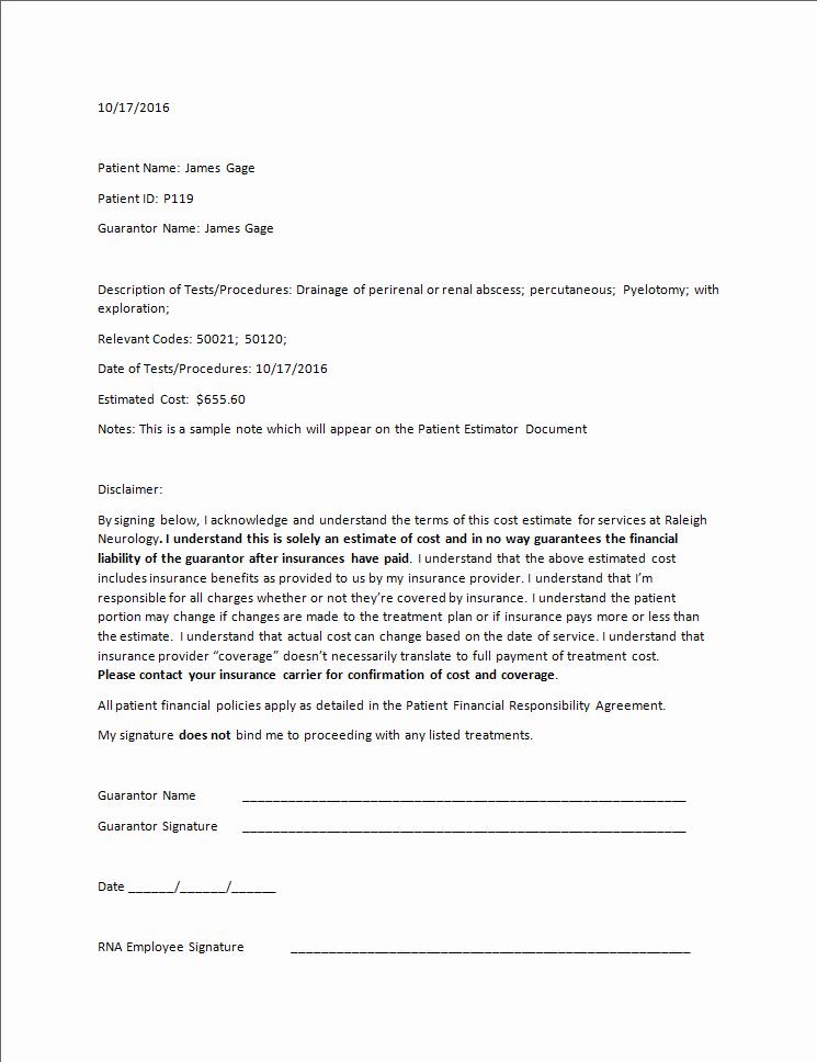 Payment Plan Letter Template Elegant Patient Estimator Summit software Technologies Llc